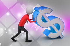 3d man pushing the dollar sign Stock Photos