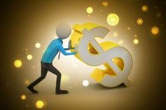 3d man pushing the dollar sign Royalty Free Stock Image