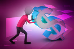 3d man pushing the dollar sign Stock Images