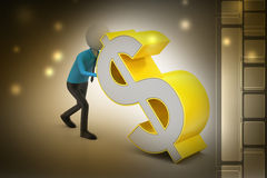 3d man pushing the dollar sign Stock Image