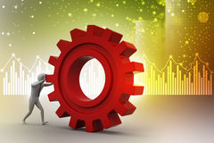 3d man pushing the gear Royalty Free Stock Images