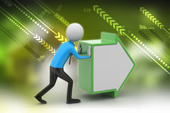 3d man pushing the green arrow. In color background Royalty Free Stock Photography