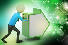 3d man pushing the green arrow. In color background Royalty Free Stock Photo