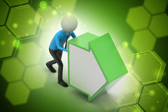 3d man pushing the green arrow. In color background Stock Photography