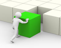 3d man pushing green cube. 3d illustration of person pushing big green cube to place it properly. 3d human person character and white people Royalty Free Stock Photo