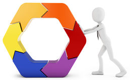3d man pushing a hexagon Royalty Free Stock Images