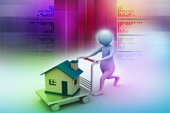 3d man pushing house in trolley Stock Photography