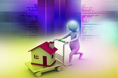3d man pushing house in trolley. In color background Stock Photos