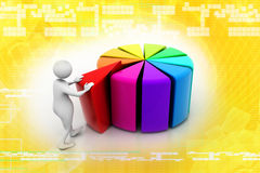 3d man pushing  peace of pie chart Royalty Free Stock Photos