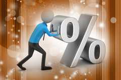 3d man pushing percent sign vector illustration