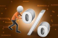 3d man pushing percent sign Stock Image