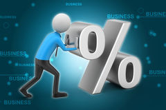 3d man pushing percent sign. In color background Royalty Free Stock Photo