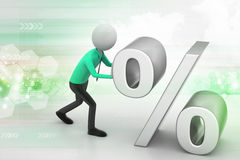 3d man pushing percent sign. In color background Royalty Free Stock Photos