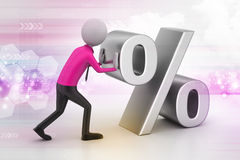 3d man pushing percent sign. In color background Stock Image