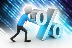 3d man pushing percent sign Stock Photography