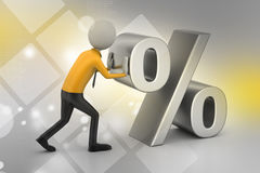3d man pushing percent sign. In color background Stock Photos