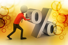 3d man pushing percent sign. In color background Royalty Free Stock Images