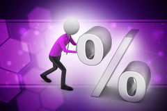 3d man pushing percent sign Royalty Free Stock Images