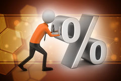 3d man pushing percent sign. In color background Stock Images