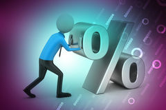 3d man pushing percent sign Stock Photo