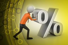 3d man pushing percent sign Royalty Free Stock Photo