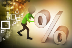 3d man pushing percent sign Stock Images