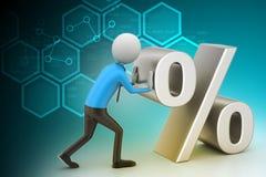 3d man pushing percent sign Stock Photos