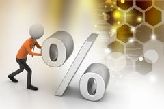 3d man pushing percent sign Royalty Free Stock Photography