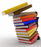 3d man pushing pile of books and books are falling concept Stock Photos