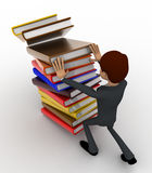 3d man pushing pile of books and books are falling concept Stock Photography