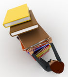 3d man pushing pile of books and books are falling concept Royalty Free Stock Photos
