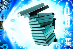 3d man pushing pile of books and books are falling illustration Stock Image