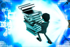 3d man pushing pile of books and books are falling illustration Stock Photography