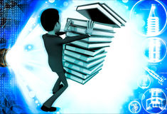 3d man pushing pile of books and books are falling illustration Royalty Free Stock Photo