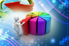 3d man pushing  red peace of pie chart. In attractive color Royalty Free Stock Photos
