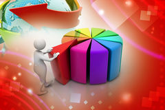 3d man pushing  red peace of pie chart Royalty Free Stock Photos