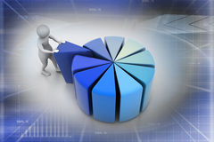 3d man pushing  red peace of pie chart. In color background Stock Photos