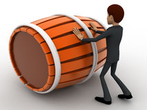 3d man pushing and rolling big barrel concept Stock Photography