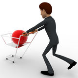 3d man pushing shopping cart with red ball in it concept Royalty Free Stock Image