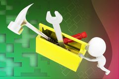 3d man pushing tool box illustration Royalty Free Stock Images