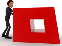 3d man pusing big red cube concept Royalty Free Stock Photos