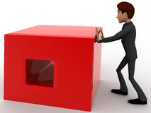 3d man pusing big red cube concept Stock Image