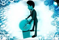 3d man put ball on cube illustration Stock Image
