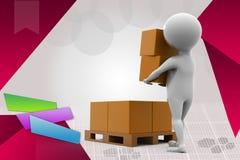 3d man put box illustration Stock Photos
