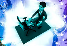 3d man put laptop on chair illustration Royalty Free Stock Image