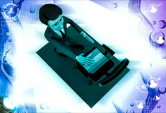 3d man put laptop on chair illustration Royalty Free Stock Images