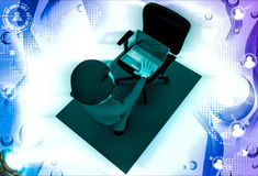 3d man put laptop on chair illustration Stock Photography