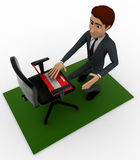 3d man put laptop on chair Stock Images