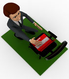3d man put laptop on chair Royalty Free Stock Image