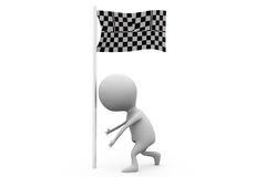 3d man put race flag concept Royalty Free Stock Image